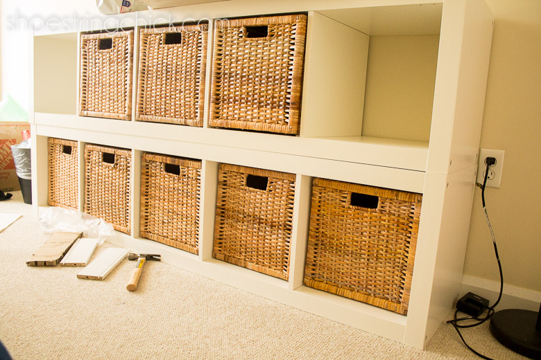 Expedit bookshelf with Branas baskets